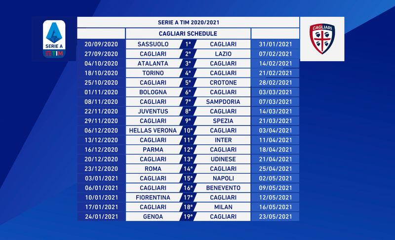 Serie A 2020 21 Il Calendario Cagliari Calcio